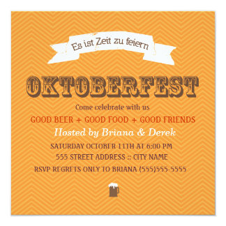 Chevron Oktoberfest Invite - Orange