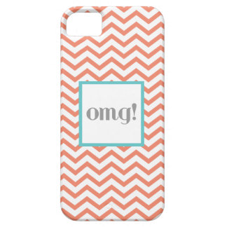 "Chevron ""OMG!"" in Gray Coral and Turquoise iPhone 5 Cover"