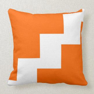 Chevron Orange and White Cushion