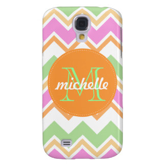 Chevron Orange Pink Green Monogram Circle Stitch Galaxy S4 Case