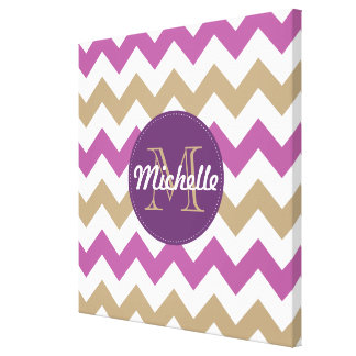 Chevron Orchid Champagne Monogram Circle Stitches Stretched Canvas Prints