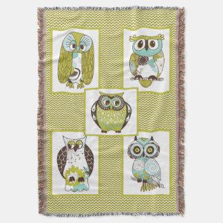 Chevron Owls Throw Blanket
