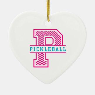 Chevron P is for Pickleball Ceramic Heart Decoration