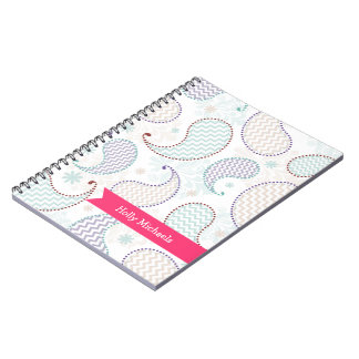 Chevron Paisley Personalized Spiral Notebook