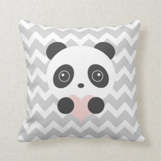 Chevron Panda Heart Cushion