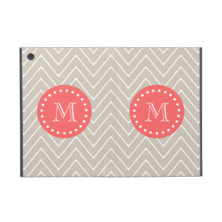 Chevron Pattern 2A Monogram Beige Coral Case For iPad Mini