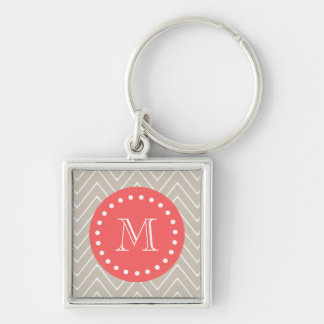 Chevron Pattern 2A Monogram Beige Coral Silver-Colored Square Key Ring