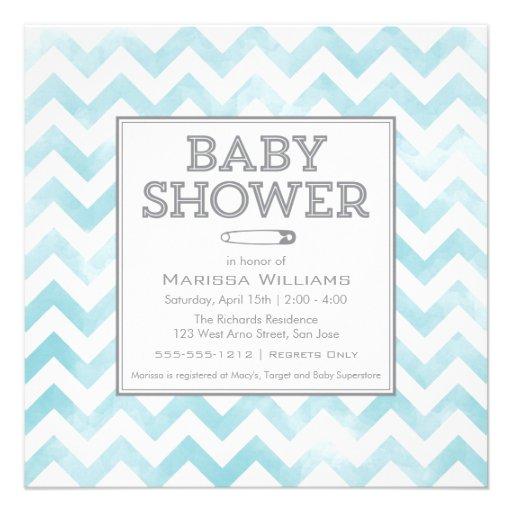 Chevron pattern Baby Shower invitation, aqua