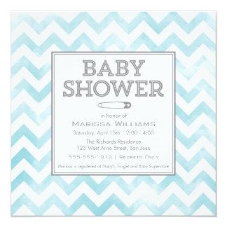Chevron pattern Baby Shower invitation, aqua 13 Cm X 13 Cm Square Invitation Card