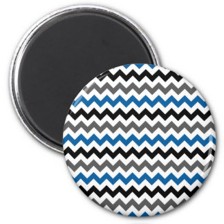Chevron Pattern Background Blue Gray Black White 6 Cm Round Magnet