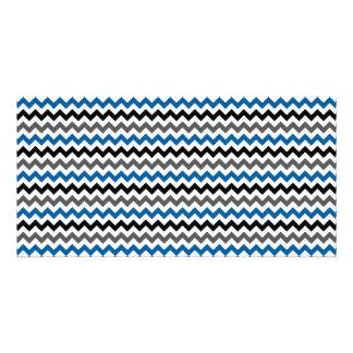 Chevron Pattern Background Blue Gray Black White Photo Cards