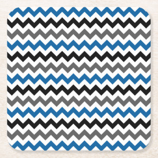 Chevron Pattern Background Blue Gray Black White Square Paper Coaster