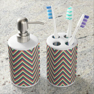 Chevron Pattern Design Soap Dispenser And Toothbrush Holder
