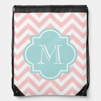 Chevron pattern drawstring bag with monogram