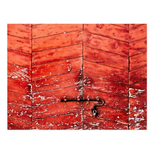 Chevron pattern effect on vintage red door postcard
