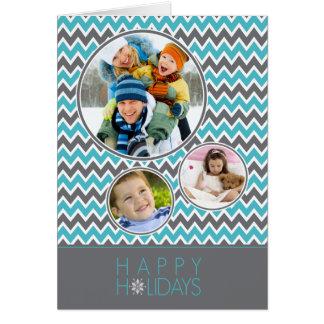 Chevron Pattern Family Holiday Card (aqua/grey)