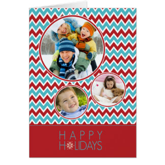 Chevron Pattern Family Holiday Card (aqua/red)