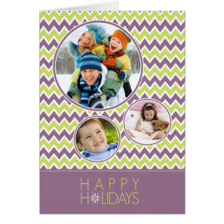 Chevron Pattern Family Holiday Card (lime/lilac)