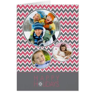 Chevron Pattern Family Holiday Card (pink/grey)