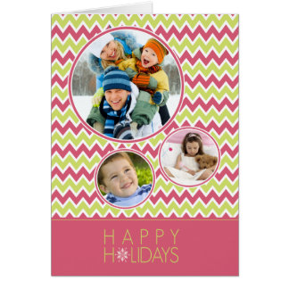 Chevron Pattern Family Holiday Card (pink/lime)