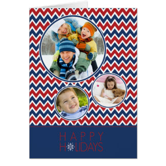 Chevron Pattern Family Holiday Card (red/blue)