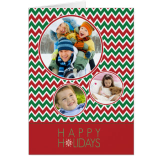 Chevron Pattern Family Holiday Card (red/green)