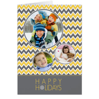 Chevron Pattern Family Holiday Card (yellow/grey)