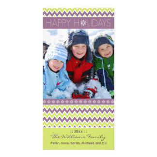 Chevron Pattern Family Holiday Photocard (lilac) Photo Card Template