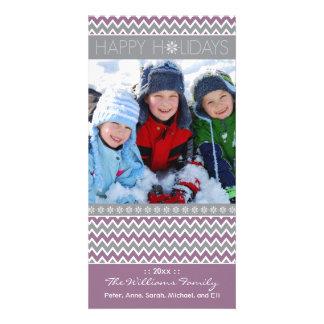Chevron Pattern Family Holiday Photocard (lilac) Photo Greeting Card