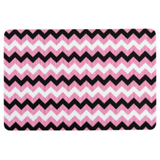 CHEVRON PATTERN Floor Mat, Pink Black & White Floor Mat
