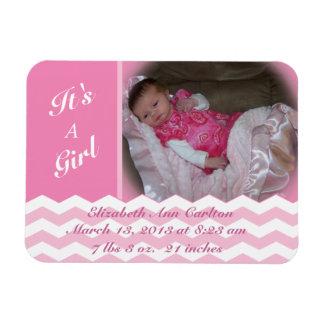 Chevron Pattern Girl Birth Announcement Magnet
