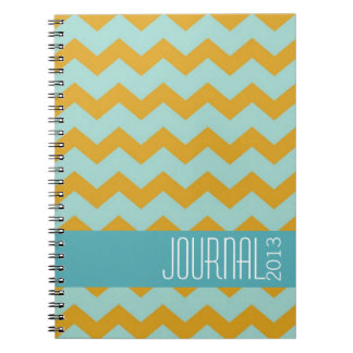 Chevron pattern gold blue modern personal journal