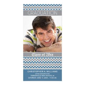Chevron Pattern Graduation Announcement (blue) Customised Photo Card