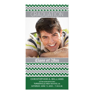 Chevron Pattern Graduation Announcement (green) Picture Card