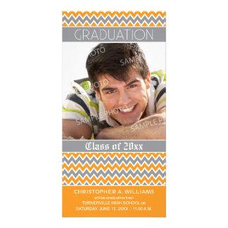 Chevron Pattern Graduation Announcement (orange) Customised Photo Card