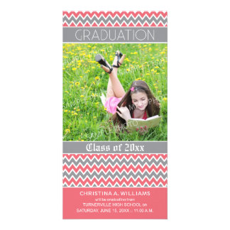 Chevron Pattern Graduation Announcement (pink) Custom Photo Card