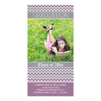 Chevron Pattern Graduation Announcement (purple) Photo Greeting Card