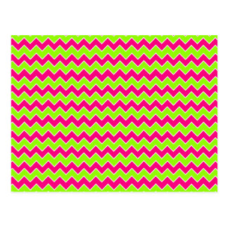 Chevron Pattern Hot Pink and Lime Green Postcard