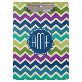 Chevron Pattern in Peacock Colors Custom Monogram Clipboard