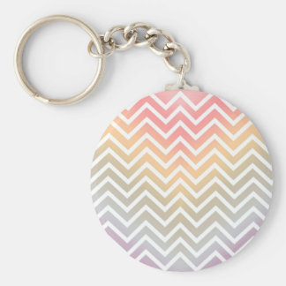 CHEVRON PATTERN IN PINK OMBRE PASTEL COLORS BASIC ROUND BUTTON KEY RING
