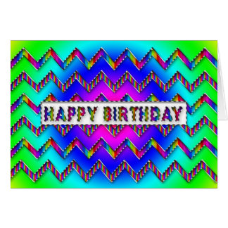 Chevron Pattern - Multi Colours - Birthday Greeting Card
