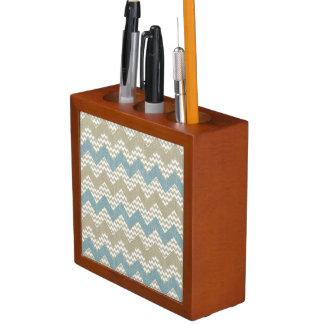 Chevron pattern on linen texture desk organiser