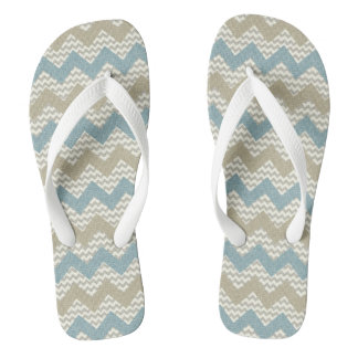 Chevron pattern on linen texture flip flops