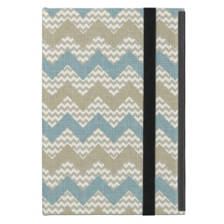 Chevron pattern on linen texture iPad mini case
