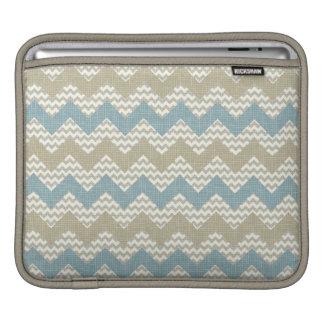 Chevron pattern on linen texture iPad sleeve