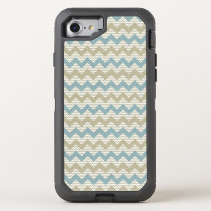 Chevron pattern on linen texture OtterBox defender iPhone 8/7 case