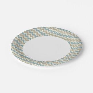 Chevron pattern on linen texture paper plate