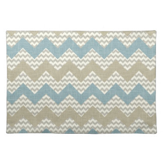 Chevron pattern on linen texture placemat