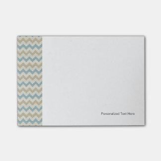 Chevron pattern on linen texture post-it notes