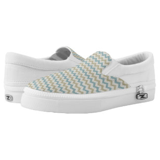 Chevron pattern on linen texture slip on shoes